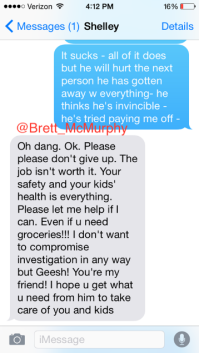 Texts between Shelley Meyer (grey) and Courtney Smith (blue) discussing the abuse situaion. PHOTO CREDIT: Courtney Smith, Brett McMurphy