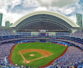Rogers Centre with the roof opened - PHOTO CREDIT - ballparksofbaseball