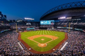 T-Mobile Park with its roof opened - PHOTO CREDIT - ballparksofbaseball
