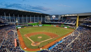 Marlins Park with its roof opened - PHOTO CREDIT - ballparksofbaseball